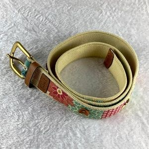 Fossil Floral Patchwork Canvas Belt